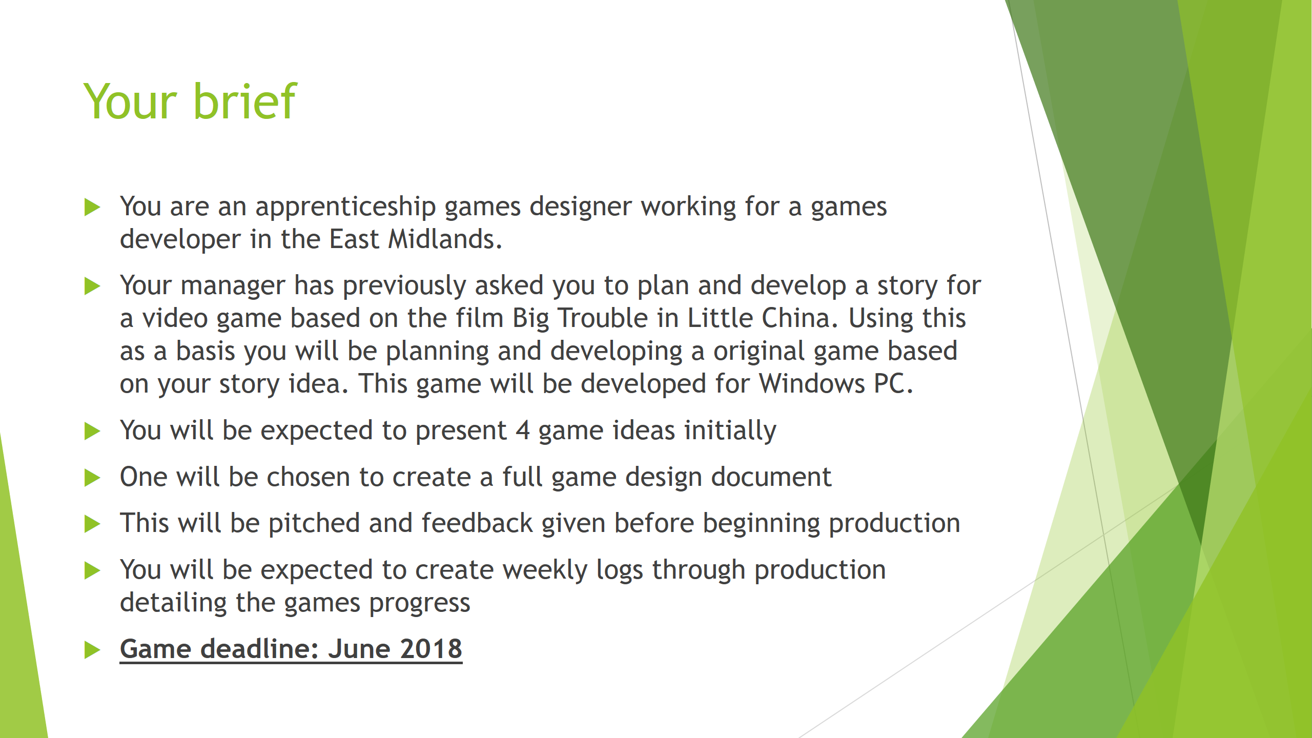 Unit Creative Media Production Management Project Working - Game design brief